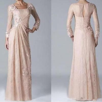 Champagne Lace Mother of the Bride Dress Plus Size Long Sleeve Formal Gown  | eBay