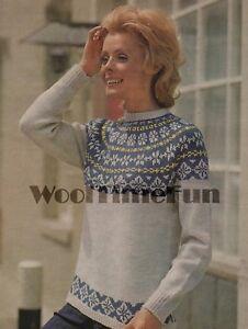 Vintage Knitting Pattern Lady S Classic Fair Isle Skiing Sweater