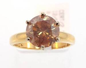 14KT-YELLOW-GOLD-2-39-CT-BROWN-DIAMOND-SOLITAIRE-RING-SZ-6-CERT-W2-999-10046