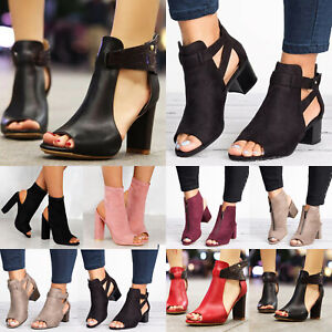 Women-Block-Mid-Wide-Heels-Leather-Sandals-Open-Toe-Ankle-Strap-Boots-Shoes