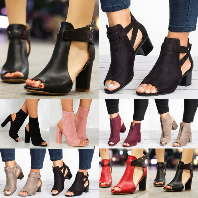 Women Block Mid Wide Heels Leather Sandals Open Toe Ankle Strap Boots Shoes