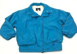 VINTAGE Roffe Puffer Jacket Size 10 Blue Ski Coat Full Zip Thinsulate 80s USA