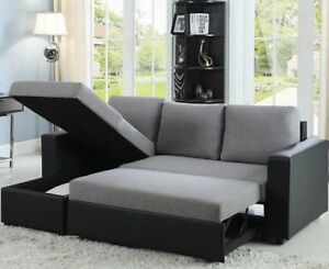 Details about Modern Reversible Sleeper Sectional Sofa Storage Chaise  Fabric Faux Leather Gray