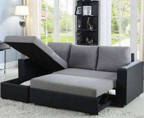 Modern Reversible Sleeper Sectional Sofa Storage Chaise Fabric Faux Leather Gray