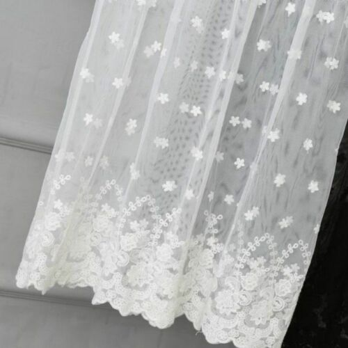 Lady Lace Sheer Skirt Floral Embroidered Elastic Waist Mesh Underskirt Petticoat