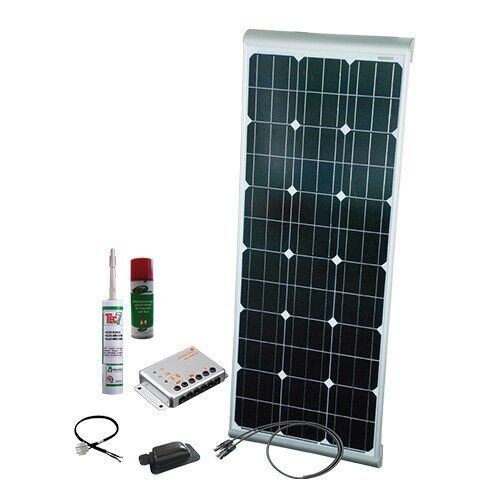 Camper Caravan Solar Panel Kit 100W 12V 14A mono w  integrated spoilers & cables