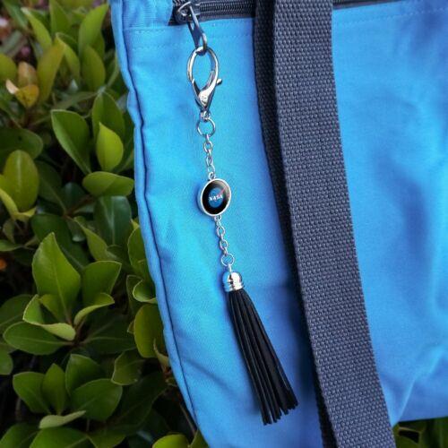 NASA Official Meatball Logo Backpack Handbag Purse Keychain Leather Tassel Charm
