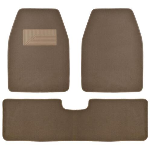Set of 3 Car Floor Mat  2 Front 1 Rear Liner Dark Beige Carpet for Truck SUV Van