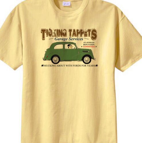 "Ford Popular 103e /""Ticking Tappets Garage Services/"" humour  t-shirt"