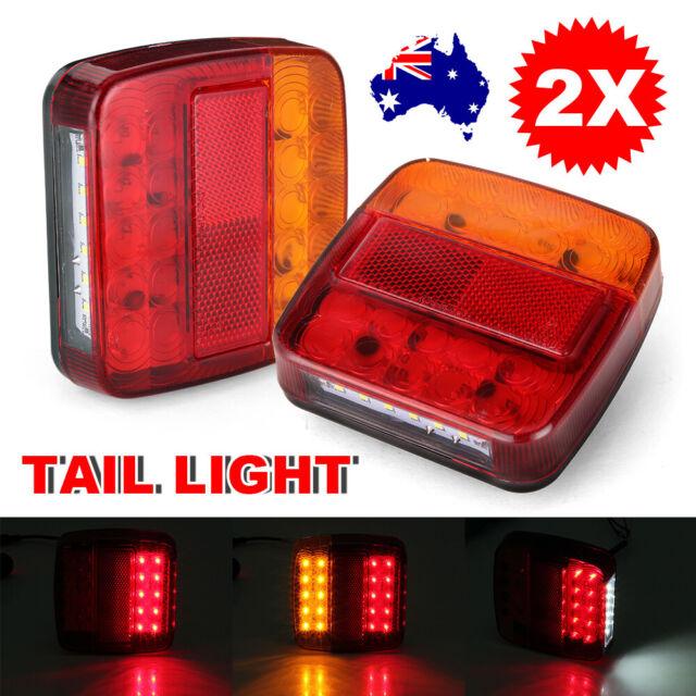 2X 26 LED Trailer Tail Lights Car Stop Brake Waterproof Truck Boat UTE Lamps 12V