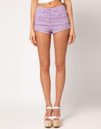 Ladies Size 8-16 New Stretch Denim Shorts Hotpants Lilac Ex store *LICK*