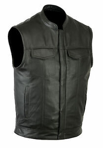 SOA-men-039-s-Anarchy-high-quality-soft-Leather-Vest-Outlaws-Motorcycle-Biker-Club