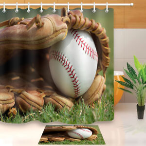 Image Is Loading Baseball Court Bathroom Decor Waterproof Fabric Bath Shower