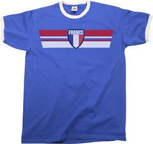 b691e414a Mens FRANCE Football T-Shirt WORLD CUP 2018 Russia Retro Strip Kit ...