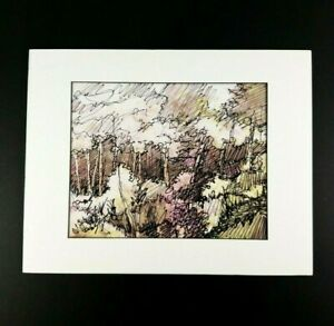Jonas-Gerard-Lithograph-or-Print-Matted-to-11-x-14-Art-is-8-x-10-Trees-or-Forest
