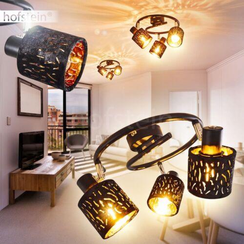 Decken Lampen Flur Strahler Wohn Schlaf Zimmer Leuchte Samt schwarz//Gold drehbar