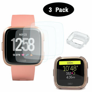 3x Tempered Hard Glass Screen Protector+Soft TPU Case For Fitbit Versa SmartBand