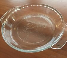 "FIRE KING 50 Years Anniversary Clear Glass Deep Dish 9"" Pie Baking Plate"