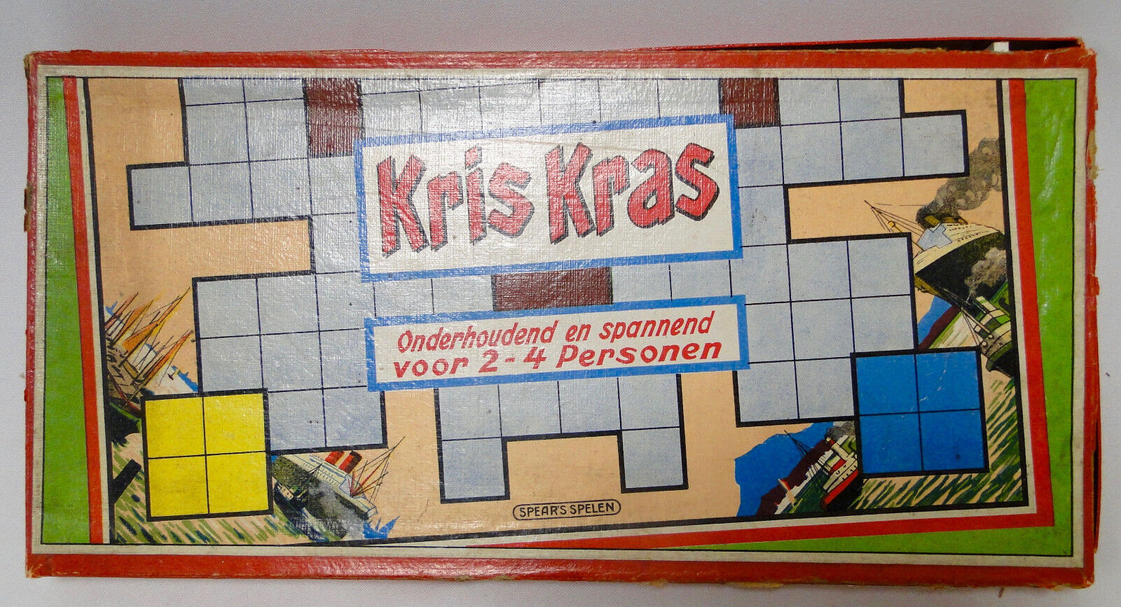 Antique Kris Kras Spear's board game, 1940 boats