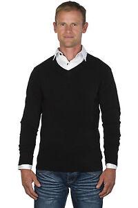 Ugholin Men's V-Neck Black Jumper with a White Shirt Insert | eBay