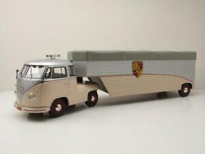 VW T1 b Renntransporter Continental Motors Porsche beige Modellauto 1:18 Schuco