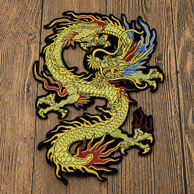 1Pair Chinese Dragon Embroidery Cloth Patch Iron On For Bag Coat Jeans DIY Craft