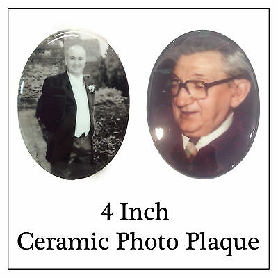 """Memorial Photo Plaque - 4"""" Ceramic Tile for Headstone Grave Side Pots -Any Image"""