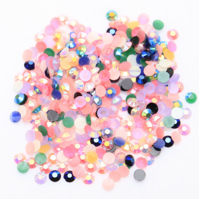 12g(2000) Half Round Acrylic Faceted Crystal Flat Back 3mm Gems Beads Crafts