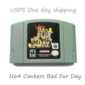 Tested-Conkers-Bad-Fur-Day-Nintendo-64-N64-Game-Cartridge-Playing-Card
