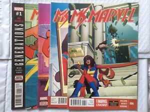 Ms-Marvel-vol-3-6-7-vol-4-1-2-Generations-1-Captain-Marvel-Wolverine-5-Book-Lot
