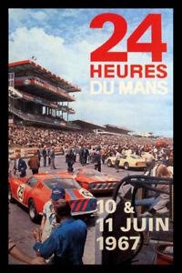 24-Heures-Du-Mans-Course-1957-Panneau-Metallique-Plaque-Etain-Signer-20-X-30-CM