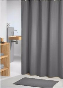 Image Is Loading Clearance Charcoal Grey Fabric Shower Curtain 2m Long