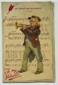 "LARGE Tucks Valentine 9"" by 6"" Du Liegst Mir im Herzen Trombone Player Songsheet"
