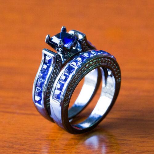 Magnifique Femmes Argent 925 Rempli Anneaux De Mariage Saphir Bleu Ring Taille 6-10