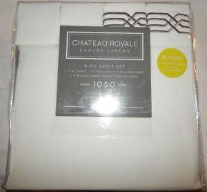 """"""" Chateau """" Royale Ensemble De Draps Complet Plat Blanc Housse Taie D'oreiller"""
