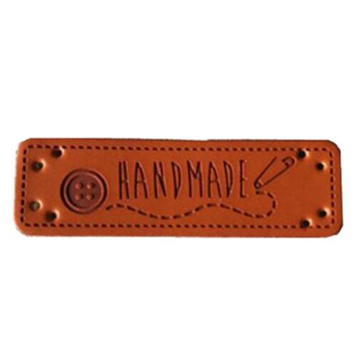 Retro De Cuero PU Marrón Sintético hecho a mano Hazlo tú mismo Sew Craft Parche de etiquetas de la etiqueta 5 un