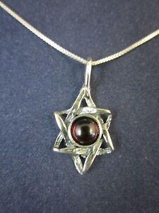 "Sterling Silver Star of David Garnet Gemstone Pendant Necklace 18"" 925 Box Chain"