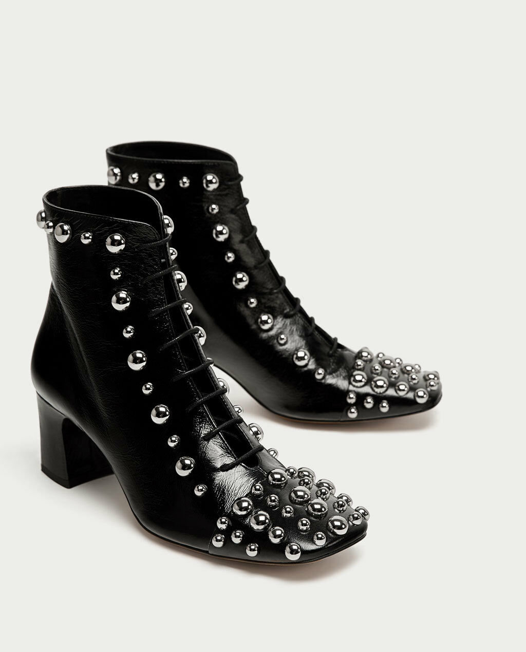 ZARA AW17 HIGH HEEL LEATHER ANKLE BOOTS WITH STUDS BLACK ALL SIZES REF. 6088/201