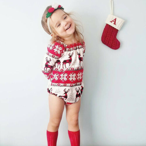 Christmas Newborn Baby Kids Girls Cartoon Deer Princess Romper Bodysuit Clothes