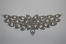 Rhinestone Diamonte Silver Bridal Wedding Sew On Motif Crystal Applique Patch 62