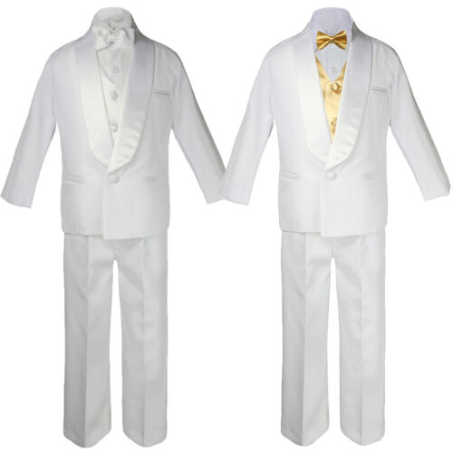 5-7pc Boy White Shawl Lapel Party Suits Tuxedo MUSTARD Satin Bow Necktie Vest
