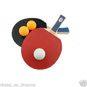 TABLE TENNIS PING PONG SET 2 PLAYER INCLUDES 3 BALLS TWO PADDLE BATS ...