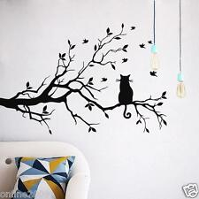Cat On Long Tree Branch Wall Sticker Animals Cats Art Decal Kids Room Decor