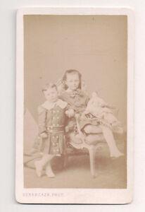 Vintage-CDV-Aristocratic-Children-Brother-amp-Sister-Subercaze-Photo-Pau-France