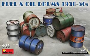 Mini-Art-35613-Model-kit-1-35-Fuel-amp-Oil-Drums-1930-50s-incl-decals