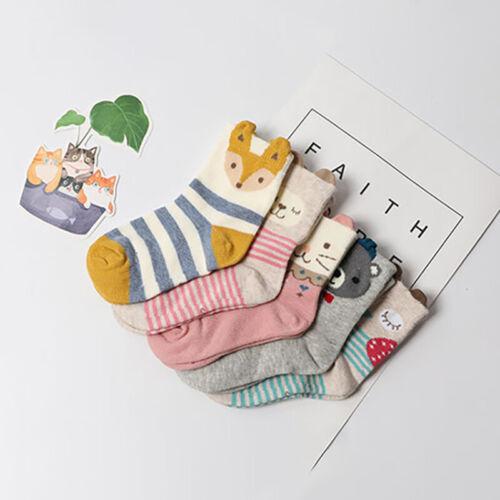 5Pairs Children Cute Cartoon Animal Socks Boys Girls Soft Cotton Ankle Socks Hot