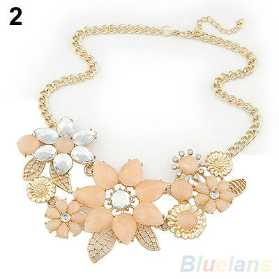 CLASSIC WOMENS FLOWERS LEAVES CHOKER BIB STATEMENT NECKLACE COLLAR CHAIN PENDANT