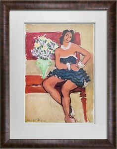 Henri-MATISSE-Limited-Edition-SIGNED-A-La-Robe-Bleue-034-Lithograph-w-Frame