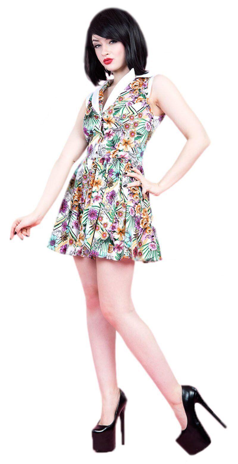 8-16 8-16 8-16 50s Jahre Shorts Blaumenmuster Schlaghose Tee Tanzsommer Skater Minikleid | Qualifizierte Herstellung  | Perfekte Verarbeitung  21c1a8