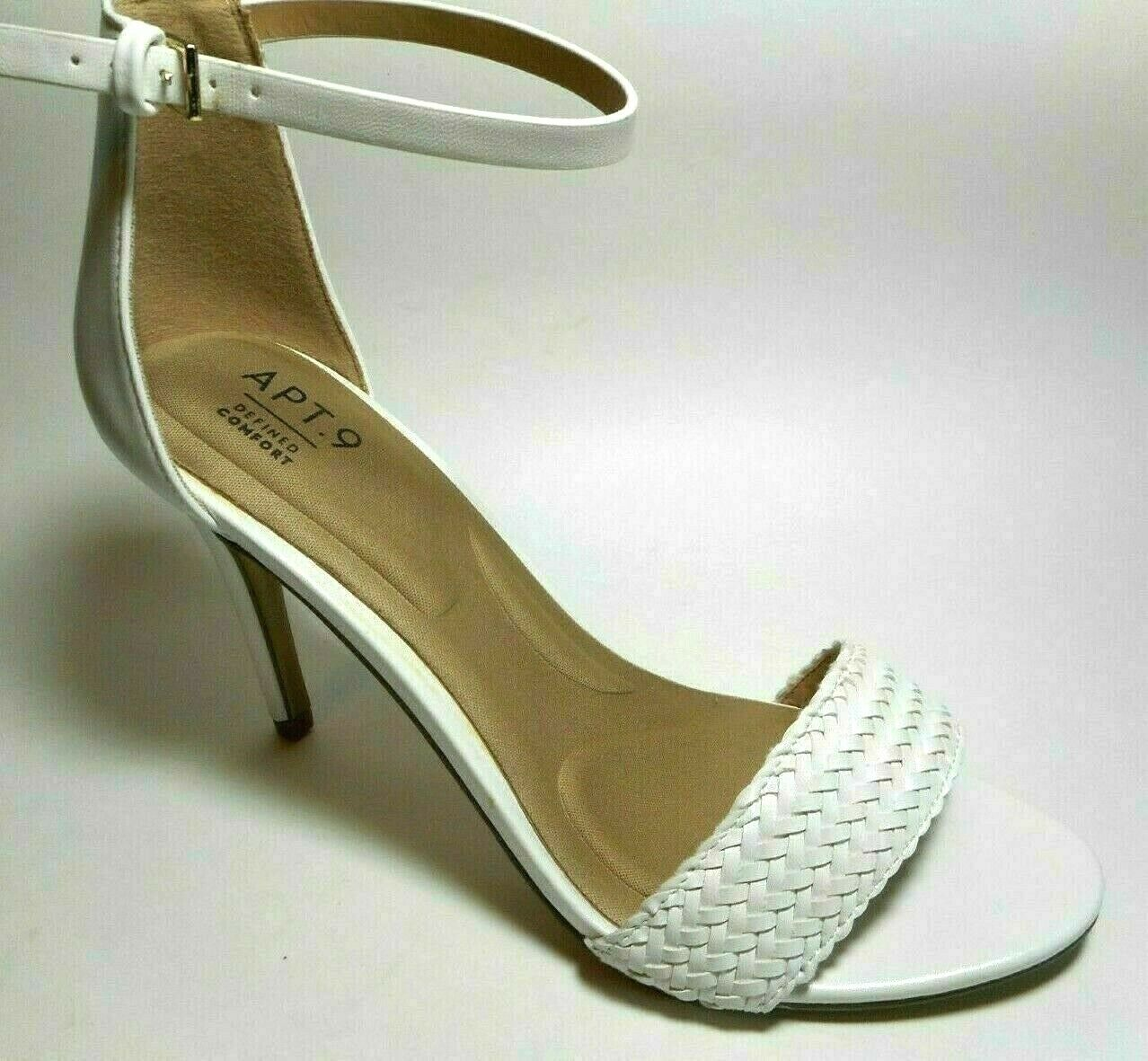 BRAND NEW APT 9 Comfort Size 9.5M White Woven Ankle Strap Heel Sandal Shoes